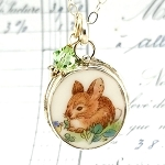 Bunny Rabbit Oval Broken China Jewelry Pendant Necklace
