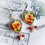 Red & Yellow Roses Broken China Jewelry Sterling Leverback Earrings