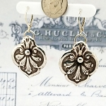 Ornate Victorian Style Drop Trefoil Earrings
