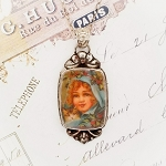 Victorian Christmas Little Girl Broken China Jewelry Ornate Floral Sterling Pendant Necklace