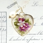 Royal Albert Sweet Violets Heart Broken China Jewelry Pendant Necklace