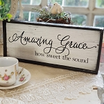 Chic Distressed Wood Sign Amazing Grace