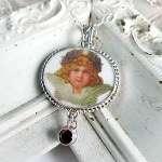 Antique Style Broken China Jewelry Oval Christmas Angel Garnet CZ drop