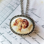 Antiqued Angel Sister Cameo Costume Jewelry Pin/Pendant Necklace