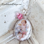 Angel Wreath Oval Pearl Broken China Jewelry Charm Pendant Necklace