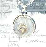 Antique Carved Mother of Pearl MOP Button Sterling Honey Bee #1 Pendant Necklace