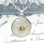 Antique Carved Mother of Pearl MOP Button Sterling Honey Bee #2 Pendant Necklace
