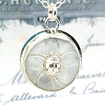 Antique Carved Mother of Pearl MOP Button Sterling Ladybug Pendant Necklace