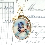 Bluebird on a Branch Small Oval Broken China Jewelry Pendant Necklace