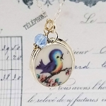 Singing Oval Bluebird Broken China Jewelry Pendant Necklace