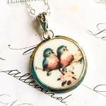 New Bluebird Couple Round Broken China Jewelry Oval Pendant Necklace
