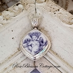 Toile Blue & White Wreath Angel Broken China Jewelry Necklace