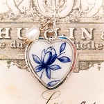 Blue and White Floral Broken China Jewelry Heart Charm Necklace