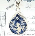 Blue & White Floral Royal Staffordshire Clarice Cliff Tonquin Transferware Teardrop Broken China Jewelry Pendant Necklace