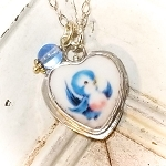 Bluebird of Happiness Broken China Jewelry Heart Charm Necklace