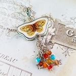 Butterfly Broken China Jewelry Crystals Tassel Pendant Necklace