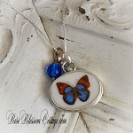 Butterfly Petite Broken China Jewelry Pendant Necklace