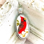 Sentimental Cardinal Long Oval Broken China Jewelry Beaded Pendant Necklace