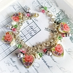 Claudine Floral Broken China Jewelry Sterling Charm Bracelet