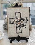Chic Distressed Wood Sign Jeweled Floral Cross