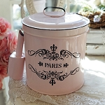 Pink Enamel Lined Bucket and Scoop Container