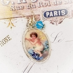 Magical Fairy Angel Broken China Jewelry Oval Charm Pendant Necklace