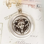 Floral Lady Art Nouveau Design Mother of Pearl Button Jewelry Pendant Necklace