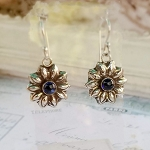 Blue Sapphire Flower Earrings September birthstone