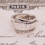 Flowers and Leaves Flatware Silverplate Spoon Ring