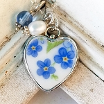 Chain of Forget me Nots Broken China Jewelry Sterling Heart Charm Necklace