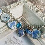 Forget-Me-Not Broken China Jewelry Hearts Sterling Charm Bracelet