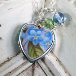 Forget me Not Broken China Jewelry Sterling Heart Charm Necklace