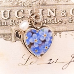 Forget Me Not Broken China Jewelry Sterling Heart Pearl Pendant