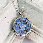 Broken China Jewelry Forget me Not Round Beaded Frame Pendant Necklace