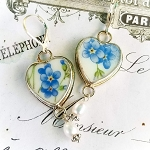 Forget Me Not Heart Broken China Jewelry Earrings
