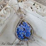 Forget Me Not Sterling Teardrop Broken China Jewelry Pendant Necklace 2