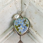 Forget Me Not Broken China Jewelry Sterling Heart Pearl or Crystal Pendant