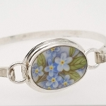 Broken China Jewelry Oval Forget Me Not Porcelain Sterling Bangle Bracelet