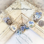 Forget Me Not Flowers Broken China Jewelry Sterling Bead Charm Bracelet