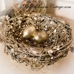 Gilded Nest on the Tree Good Fortune Blessing  Christmas Xmas Ornament