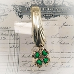 BESTSELLER Key Finder Fob Vintage Silverplate spoon Purse Hanger Organizer Four leaf Clover charm