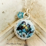 Lovebirds Round Porcelain Pendant Charm Necklace