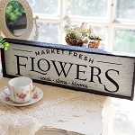 Chic Distressed Wood Sign Fresh Flower Market