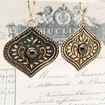 Antiqued Moroccan Style Artisan Handcrafted Sterling Silver Hematite Earrings