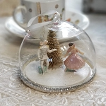 Nutcracker Glass Cloche Ornament Clara & Mouse King