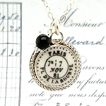 Broken China Jewelry Paris PL De La Bourse Postmark Sterling Pendant Necklace