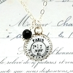 Paris PL de la Bourse Postmark November 7 Charm Pendant Necklace