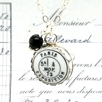 Paris Exposition Postmark November 4 Charm Pendant Necklace