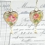 Peachy Pink & Yellow Broken China Jewelry Sterling Leverback Earrings
