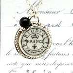 Broken China Jewelry French Periodiuqes Postmark Sterling Pendant Necklace